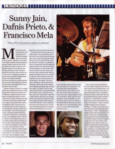 TRAPS - Sunny Jain, Dafnis Prieto, & Francisco Mela: Three NYC drummers explore world jazz